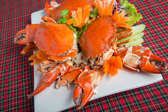 Delicious crab. Three Delicious crab on white plate Stock Photography
