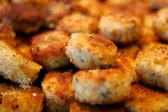 Delicious crab cake appetizers Royalty Free Stock Image