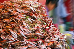 Delicious crabs are being sold on the street. This image shows a stack of cooked crabs. They are sold on the street as one of the most popular seafood in China royalty free stock images