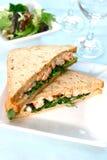 Delicious crayfish sandwich. Stock Photo