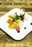 Delicious cream or apple strudel Stock Images