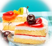 Delicious Cream Cakes Means Yummy Cafeterias And Cafes royalty free stock images