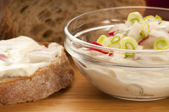 Delicious cream cheese with chives Royalty Free Stock Photos