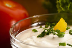 Delicious cream cheese with chives Stock Photography