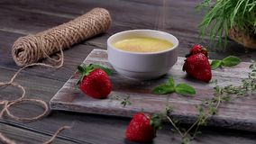 Delicious cream dessert. stock video
