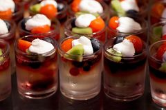 Delicious cream and fruit dessert close up Royalty Free Stock Photo