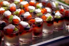 Delicious cream and fruit dessert close up Stock Photos