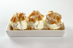 Delicious cream puff cake Royalty Free Stock Images