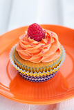 Delicious cream and raspberry cupcake Royalty Free Stock Photos