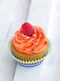 Delicious cream and raspberry cupcake Stock Image