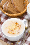 Delicious cream soup of cauliflower with cheese, vertical Stock Photography
