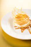 Delicious creamy dessert with caramel topping. On yellow background Royalty Free Stock Photography
