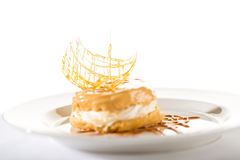 Delicious creamy dessert with caramel topping. On isolated background Stock Image