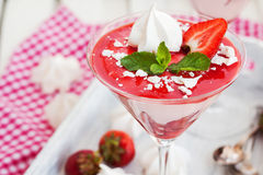 Delicious creamy strawberry mousse Stock Image