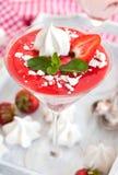 Delicious creamy strawberry mousse Stock Photos