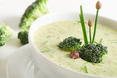 Delicious creamy vegetable soup in a white bowl. Stock Image