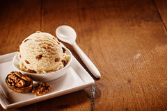 Delicious creamy walnut ice cream Stock Photo