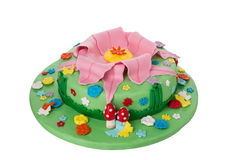 Delicious and creative birthday cake. For children. Nature Plants. Royalty Free Stock Photo