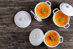 Delicious Creme bruleeб view from above Royalty Free Stock Images
