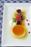Delicious creme caramel custard stock photography