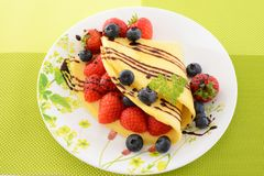 Delicious crepe. On the dining table stock photo