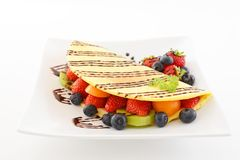 Delicious crepe. On the dining table royalty free stock photos