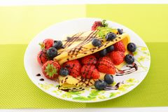 Delicious crepe. On the dining table stock images