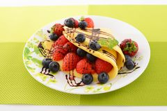 Delicious crepe. On the dining table royalty free stock image