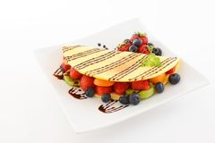 Delicious crepe. On the dining table stock photos