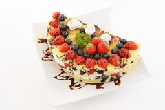 Delicious crepe. In a dish stock images