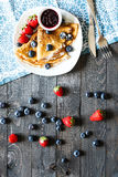 Delicious Crepes Breakfast with Dramatic light over a wood background Stock Photography