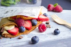Delicious Crepes Take Away Breakfast strawberry royalty free stock photo
