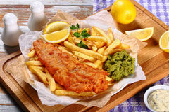Delicious crispy fish and chips on plate Stock Photography