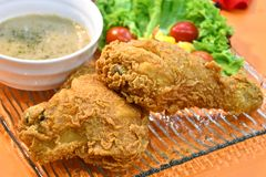 Delicious Crispy Fried Chicken with Sauce Royalty Free Stock Photos