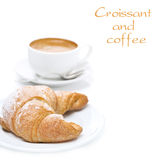 Delicious Croissant And Cup Of Black Coffee, Isolated Stock Photography