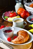 Delicious croissant breakfast Royalty Free Stock Images