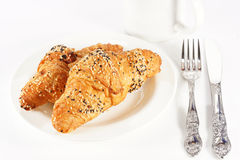 Delicious croissant with a cup of black coffee Stock Photo