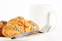 Delicious croissant with a cup of black coffee Royalty Free Stock Photography