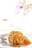 Delicious croissant with a cup of black coffee Stock Photography