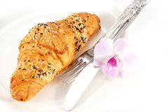 Delicious croissant on white plate Royalty Free Stock Photo