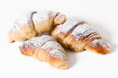 Delicious croissants against a white background Royalty Free Stock Images