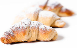 Delicious croissants against a white background Royalty Free Stock Photos