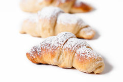 Delicious croissants against a white background Royalty Free Stock Image