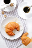 Delicious Croissants with coffee for breakfast Royalty Free Stock Photos
