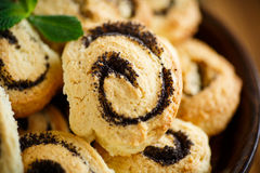 Delicious crumbly biscuits with poppy seeds Royalty Free Stock Images