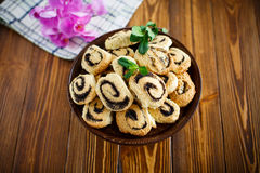 Delicious crumbly biscuits with poppy seeds Stock Images