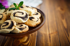 Delicious crumbly biscuits with poppy seeds Royalty Free Stock Photo