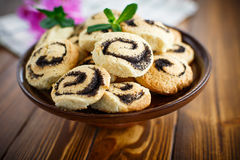 Delicious crumbly biscuits with poppy seeds Stock Photo