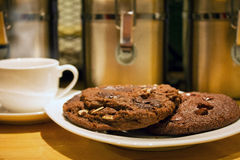 Delicious crunchy chocolate chip cookies Stock Images