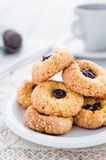 Delicious and crunchy rice cookies with jam Stock Photos